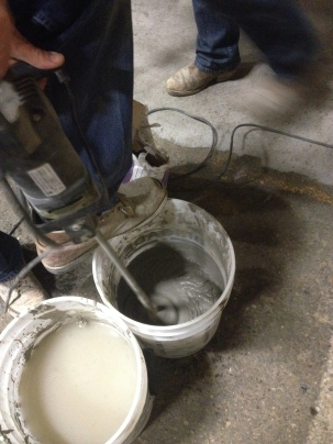 Mixing the Concrete Resurfacer