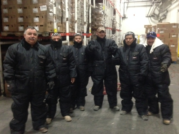 Crew in freezer suits