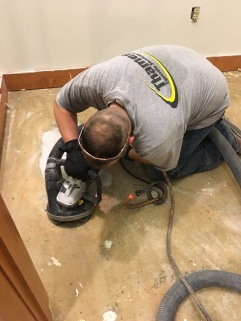 Thames Concrete Hand Grinding with Runyon Whip Wet Pads